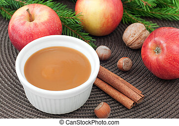apple sauce - Apple sauce with cinnamon and fresh apples for...