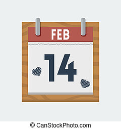 Vector calendar icon for 14 february in flat style
