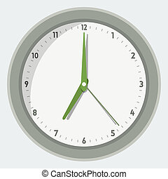 Vector illustration of wall clock in 'flat' style