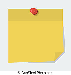Vector note paper with red pin  in 'flat' style