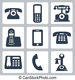 Vector isolated phones icons set