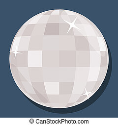 Vector silver disco ball  in 'flat' style