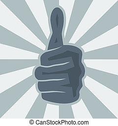 Vector thumbs-up poster in blue tones