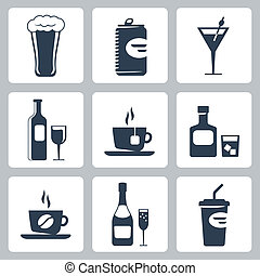 Vector isolated beverages icons set