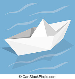 Vector origami paper ship on blue background