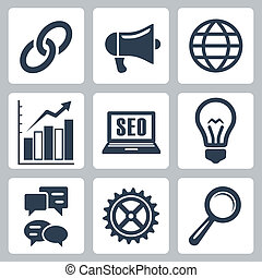 Vector isolated seo icons set #1