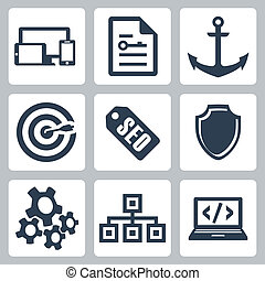 Vector isolated seo icons set 2