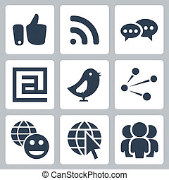 Vector social network icons set