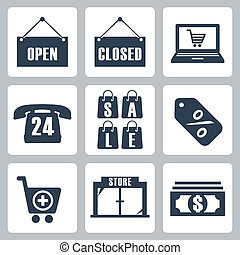 Vector isolated shopping icons set