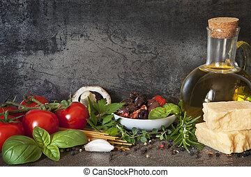 mat, bakgrund, italiensk