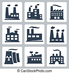Vector isolated factory icons set