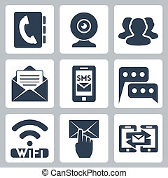 Vector isolated communication icons set