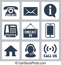 Vector contact us icons set