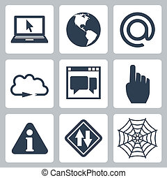 Vector isolated internet-related icons set