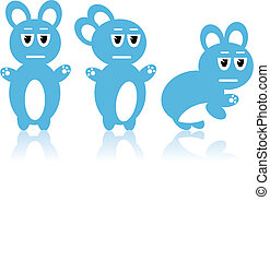 Three blue rabbits - Vector image - An illustrated...