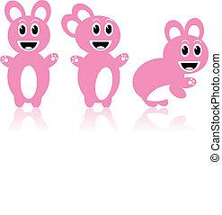 Three pink rabbits - Vector image