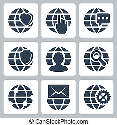 Vector isolated globe icons set