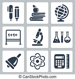 Vector isolated school icons set