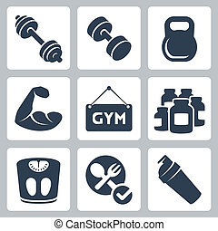 Vector isolated bodybuildingfitness icons set
