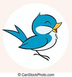 Little Blue Bird - Vector cartoon illustration of a little...