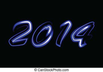 Vector 2014 neon glowing