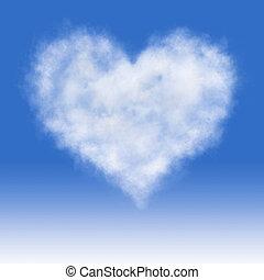 nublado, Coração, abstratos, Valentine,...