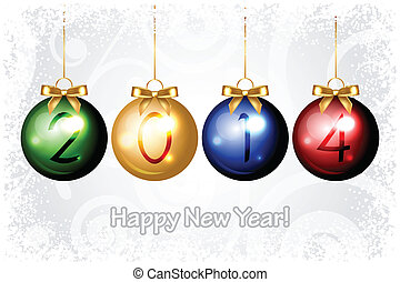 Vector 2014 Happy New Year background with colorful...