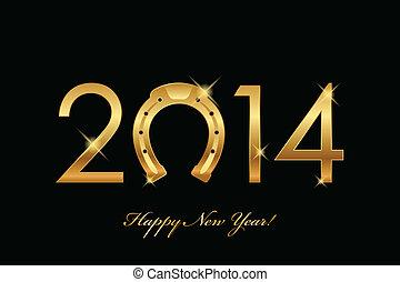 2014, fundo, Ouro, ferradura
