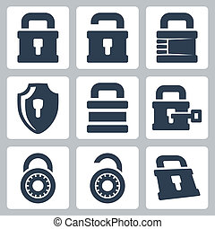Vector isolated lock icons set