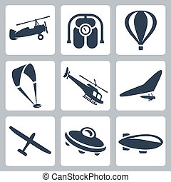 Vector aircrafts icons set: autogyro, jet pack, air baloon, paraglider, helicopter, hang-glider, glider, flying saucer, airship
