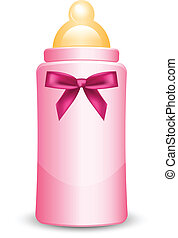 pink baby bottle with bow - Vector illustration of pink baby...