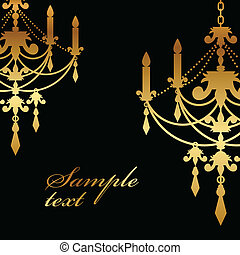background with gold chandelier - Vector black background...