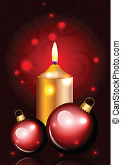 Christmas red card with candle