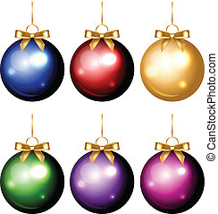 colorful christmas decorations - Vector set of shiny...