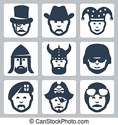Vector profession icons set: magician, cowboy, jester,...