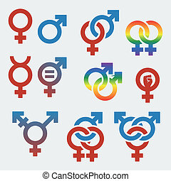 vector, símbolos, sexual, orientación,...