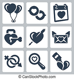 Vector isolated love icons set: baloons, speech bubbles,...