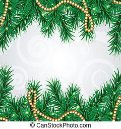 Christmas frame - Vector Christmas frame with fir and...