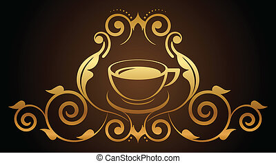 floral gold coffee icon - Vector illustration of floral gold...