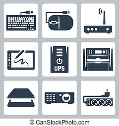Vector hardware icons set: keyboard, computer mouse, modem,...
