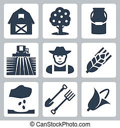 Vector farming icons set: barn, apple tree, milk can, field...