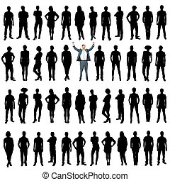 Business people silhouettes, unique concept - Vector...
