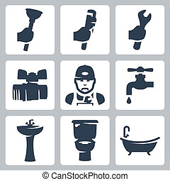 Vector plumbing icons set: plunger, adjustable wrench,...