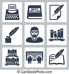 Vector writer icons set: typewriter, bestseller, feather,...