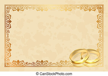 parchment frame with gold rings - Vector parchment frame...