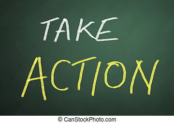 Take action words on chalkboard background