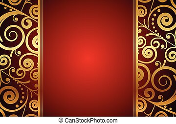 red background with gold ornaments - Vector red background...