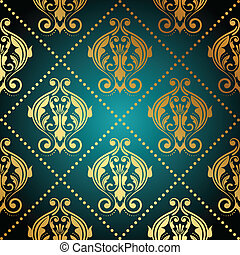 turquoise and gold ornate wallpape