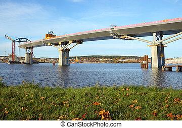 bridge almost complete - bridge crossing the bay are almost...