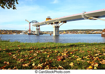 bridge build an autumn day - bridge crossing the bay are...
